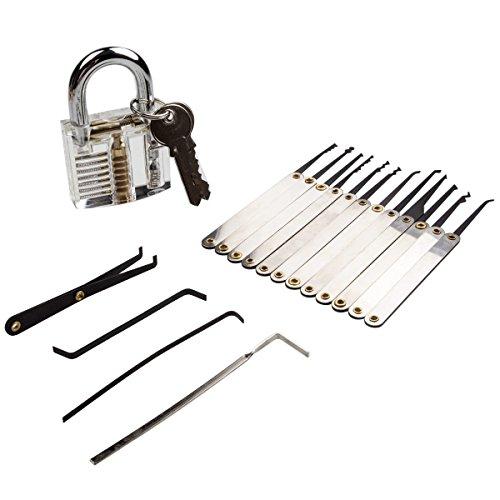 Üben Lock Pick Training Kit–LANIAKEA 12PCS Lockpicking Werkzeug-Set mit Schloss Tension Schlüssel, transparent, Tragetasche, tolles Geschenk für Schlosser Anfänger gadget-lovers