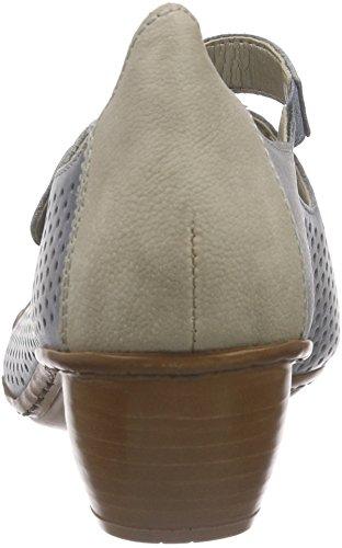 Rieker 43749 Women Closed-toe, Chaussures à talons - Avant du pieds couvert femme Bleu - Blau (azur/elefant / 12)