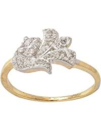 SKN Silver and Golden American Diamond Solitaire Party Alloy Ring for Women & Girls (SKN-3411)