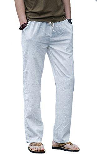 Icegrey Herren Leinen Hose Freizeit Strandhosen Leinenhose Kordelzug Hosen Mit Elastisch Taille Weiß 48 Tag XL (Leinen-hose Strand-hochzeit)