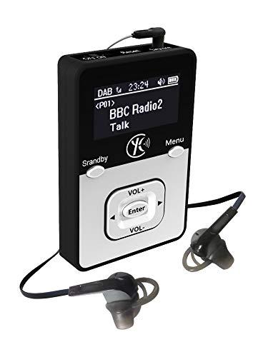Yaakin K1, persönliches digitales DAB +, DAB/FM Radio, MP3 Player Miniradio,wiederaufladbare Batterie, tragbares Handfunk, Walking oder Jogging, einschließlich Kopfhörer (Schwarz+MP3)