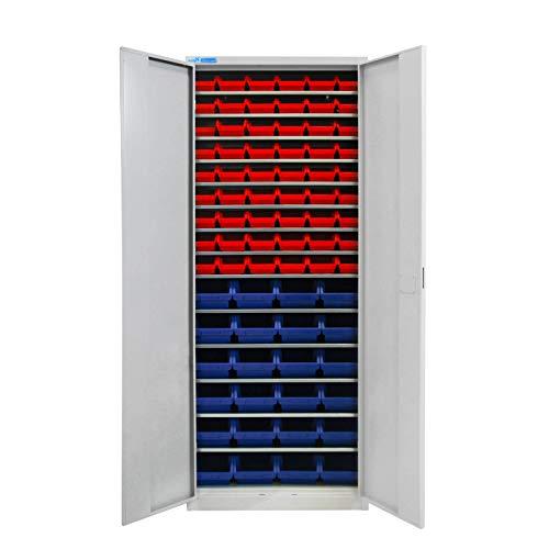 ADB Werkzeugschrank Werkstattschrank verschließbar mit 78 Stapelboxen