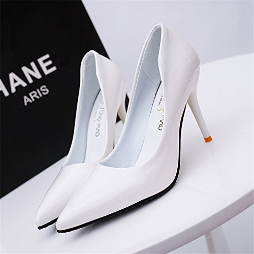 TMKOO La nouvelle boîte de nuit sexy haute avec des chaussures simples fines avec la bouche peu profonde a des chaussures à talons hauts modèles d'explosion Blanc