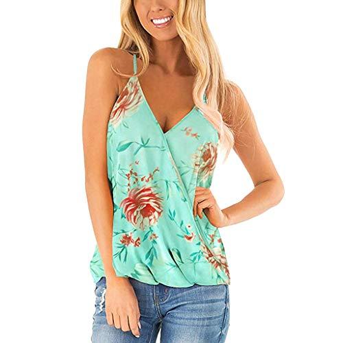 Deep lovly Damen Tops Westlichen Stil Sexy Strand Hawaiian Floral Tiefem V-Ausschnitt Wrap Strap Tank Sommer Ärmelloses Hemd Beiläufige Lose Bluse Blumenmuster Modische Sommer Herbstmode