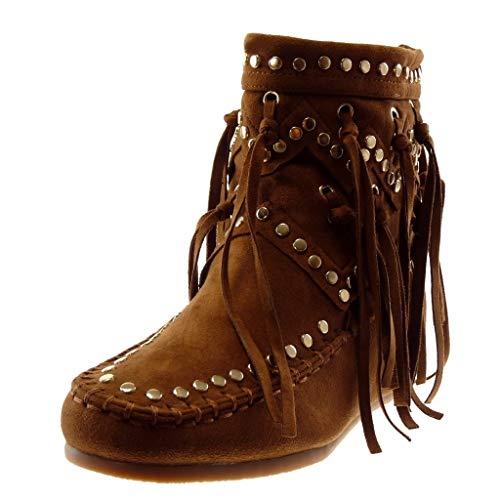 Angkorly - Damen Schuhe Stiefeletten - Mokassin Stiefel - Folk - Flexible - Fransen - Nieten - besetzt - Fertig Steppnähte Keilabsatz 5 cm - Camel B7673 T 39