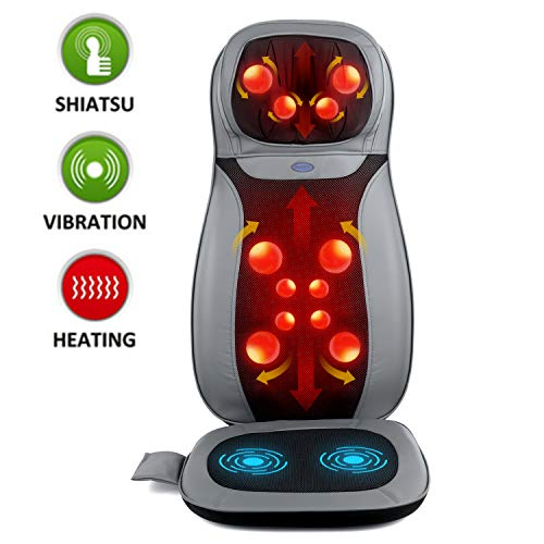INTEY Neck and Back Massage Seat with Heat, Kneading or Roller Massage with Full Back, Massage Seat Cushion with Height Adjustment