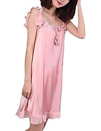 7b43064a0e Camicia da Notte Donna Spaghetti Strap di Colore Solido Abiti Pigiama  Ragazze Giovane Casuali Estivi Homewear