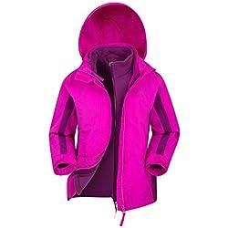Mountain Warehouse Veste imperméable Lightning 3 en 1 pour Enfant - Coutures collées, Doublure intérieure Amovible, Plusieurs Poches - pour Marche et randonnée Rose Vif 11-12 Ans