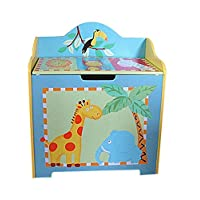 WODENY Toy Box Wooden   Toys Chest Trunk Large   Toy Storage Boxes Animal Theme with Lid, for Boys Girls Kids Children