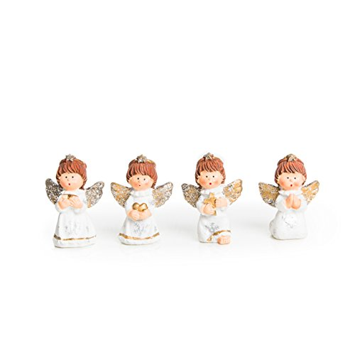 Give-away - 4 angioletti con glitter, 5 cm (senza corda), ideali come regalo per compleanno, per bambini