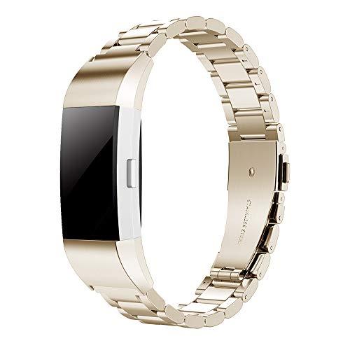 Simpeak Ersatz Fitbit Charge 2 Armbänder Champagner Gold, Edelstahl Metall Ersatz Uhrenarmband Band Straps Ersatz Fitbit Charge 2 (7 Zoll Gold-armband)