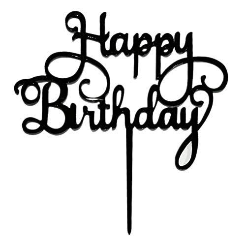 ZREAL Happy Birthday Acryl Kuchen Topper Flaggen Deko Party Backen Dekoration Supplies Schwarz