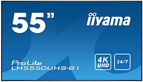 iiyama ProLite LH5550UHS-B1 139cm (55 Zoll) Digital Signage Display AMVA3 LED Panel 4K UHD 24/7 Ultra Slim (Component video Y/Pb/Pr, HDMI x3, DisplayPort, USB x3, RS232, RJ45 LAN, IR) schwarz