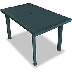 vidaXL Table de Jardin 126x76x72 cm Plastique Vert Terrasse Patio Balcon