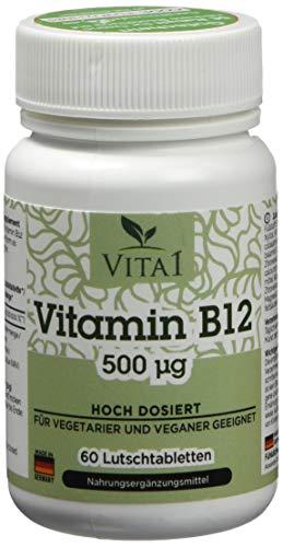 Vita 1 Vitamin B12 Cobalamin 60 Lutschtabletten (2 Monate Vorrat) beste Aufnahme über die Mundschleimhaut, 30 g -