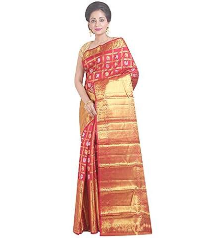 Indian Ethnic Pure Kanjeevaram Silk Red Handloom