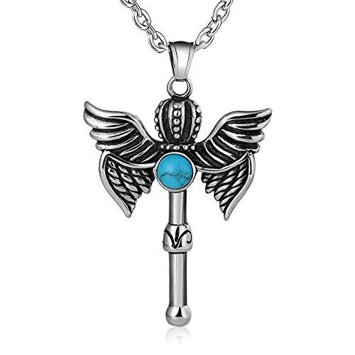 Beglie Unisex Halskette Krone Flügel mit Zirkonia Kette Herren Edelstahl Kettenanhänger Quadrat für Damen Und Herren Blau Kette Gothic mit Zirkonia
