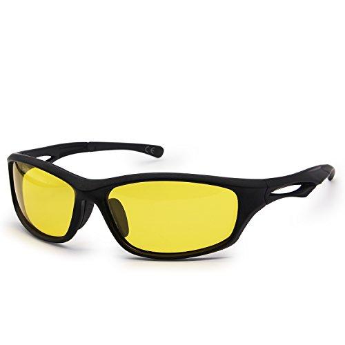 AMZTM Blendung reduzieren Nachtfahrbrille Für Herren Unzerbrechlich TR90 Rahmen Polarisierte Fahrbrille Sport Sonnenbrille Für Radsport Reiten Laufen Angeln Leichtgewichtler 100% UV400 Schutz