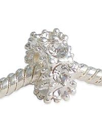 Andante-Stones perle Argent 925 avec 8 cristaux de verre blancs Élément bille pour perles European Beads + Étui en organza