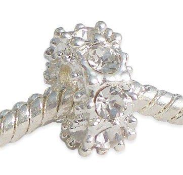 Andante-Stones Silber Spacer Bead Blumenkranz mit 8 weißen Glaskristallen - Element Kugel für European Beads + Organzasäckchen - Glas Kamin Edelsteine
