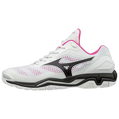 Mizuno WAVE STEALTH V Damen Handballschuhe - white/pink