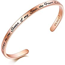 """SOLOCUTE Pulsera Mujer de Grabado """"You will always be the Sister of my Soul,the Friend of my Heart."""" Joyería"""