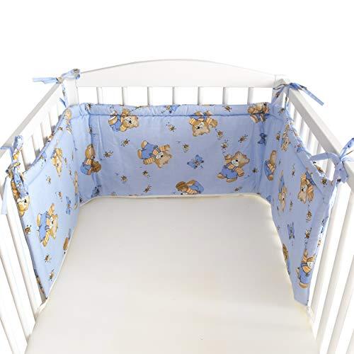 BlueberryShop Rivestimento Lettuccio | 150 x 35 x 4 cm | Progettato per bambini da 0 a 3 anni | 100% cotone | Blu Orso