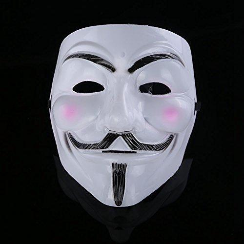 1 Stück Cosplay Maske V wie Vendetta Maske Anonym Film Guy Fawkes Halloween-Maskerade-Partei-Gesichts März Protest Weiß