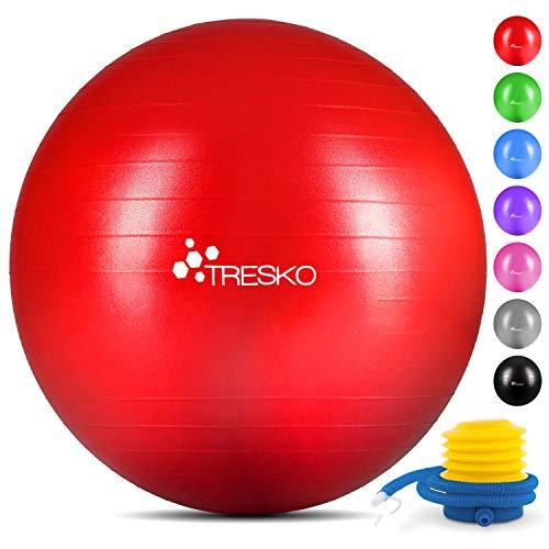 TRESKO® Anti-Burst Gymnastikball 55cm 65cm 75cm 85cm | Sitzball | Yogaball | 300 kg | mit Luftpumpe (Rot, 55cm (geeignet für 155cm oder weniger))