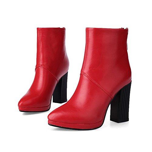 VogueZone009 Donna Scarpe A Punta Bassa Altezza Tacco Alto Puro Vernice Stivali Rosso