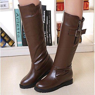 RTRY Donna Moda Tacchi Stivali Pu Molla Moda Casual Boots Marrone Bianco Nero 5In &Amp; Oltre US8.5 / EU39 / UK6.5 / CN40