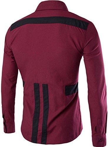 jeansian Herren Freizeit Hemden Shirt Tops Mode Langarmshirts Slim Fit 84D3 WineRed