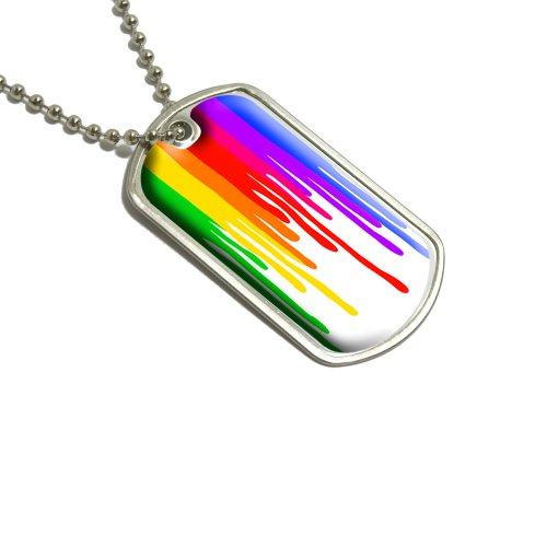 Herunterlaufende Regenbogen auf weiß–Kunst Künstler Malerei Militärische Erkennungsmarke Gepäck Schlüsselanhänger