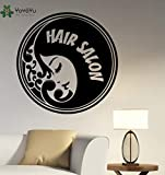 wukongsun Wandtattoo Friseursalon Logo Entfernbare Wandaufkleber Vinyl Friseur Dekorieren Friseursalon Fenster Dekoration Haarschnitt Decor 63 cm X 63 cm