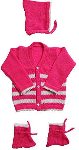 RK SWEATERS Baby Sweater for 6-12 Months Combo for Baby boy & Baby Girl(Dark Pink_6-18 Months)| Also Suitable for (6-9),(9-12),(12-18) Months Baby Boy's & Girl's,1 Year Baby boy & 1 Year Baby Girl