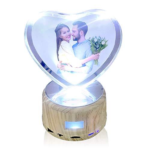 Leadleds Crystal Personalisierbares Foto Nachtlicht Bluetooth Lautsprecher drehbar Display Ständer mit LED Licht Geburtstag Geschenk Valentinstag Geschenk für Mädchen Frauen Crystal Bluetooth