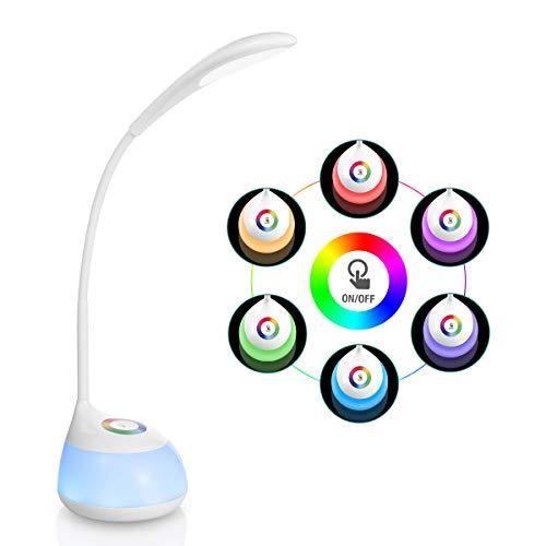 AMBOTHER LED Schreibtischlampen 16 LED Leselampe RGBW 265 Farben 3 Helligekeitsstufen mit Touch-Control LED Nachtlicht mit USB-Anschluss Aufladbar 360°Biegbar Stimmungslicht für Kinder Lesen Büro