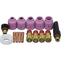Las antorchas de soldadura TIG Stubby Gas lente Pinzas de alúmina Boquillas casquillo trasero Kit Para SR WP 17 18 26 de la serie 16pcs
