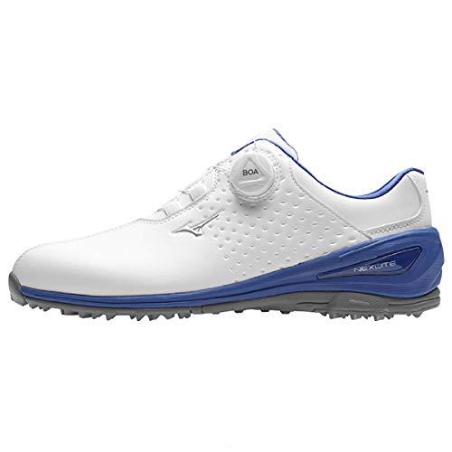 Mizuno 2019 NEXLITE 006 BOA Extrem Ultraleichte Wasserdichte Herren Golfschuhe - White/Blue Jewel/Mirage Gray 9.5UK