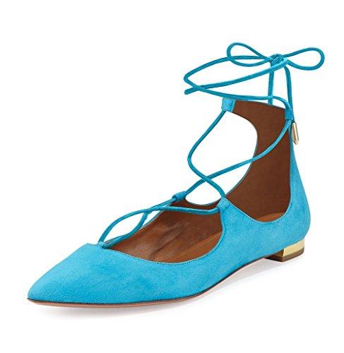 ELASHE - Femmes - Ballerines - Grande Taille Chaussures - Plates à lacets - Bout pointu fermé Blau