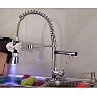 SHUYOU® Contemporary Single Handle Chrome Finish Pull-Out Spray LED Kitchen Faucet with 3 Color Changing