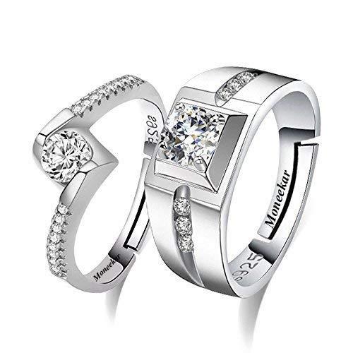 Moneekar Jewels Silver Metal Cubic Zirconia Adjustable Couple Rings for Men and Women