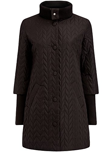 oodji Collection Damen Lange Steppjacke mit Stehkragen, Schwarz, DE 40 / EU 42 / L