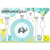 Set de table pédagogique, set de table enfant, thème jungle, tons bleu et jaune