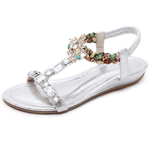 Sandales Xiaolin T-Strap Summer Beach Post Tongs Chaussures Plates pour Femmes Hauteur du Talon: 1 Centimètres (Taille optionnelle)