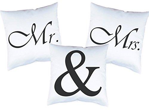 3er Set Kissen mit Druck Mr. & Mrs. Kissenbezüge mit Motiv 40×40 cm Kissenhüllen beidseitig bedruckt mit oder ohne Füllung