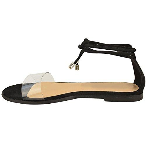 Nuovo da Donna Basse Caviglia Cravatta Up Sandali Estivi Perspex Gladiatore Scarpe Numeri Nera Pelle Scamosciata