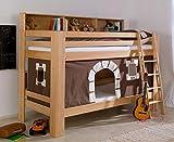 Froschkönig24 Etagenbett JAN Kinderbett Spielbett Bett mit Bücherregal Buche Burg Braun/Weiß, Matratzen Oben/unten:ohne