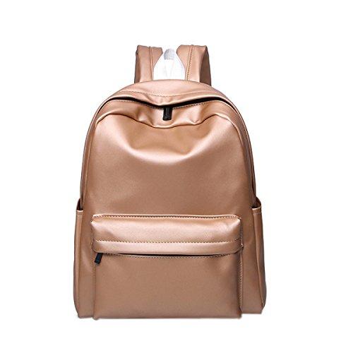 Preisvergleich Produktbild PU Studenten Schule Große Kapazität Einfache Schultasche Laptop-Tasche Bunt,Gold-OneSize