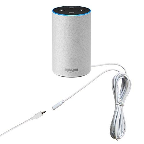 MERES Verlängerungskabel für Echo 9.8FT 3m DC Stecker Kabel Echo Storm Verlängerungskabel Echo Alexa Storm Kabel Echo DC Kabel für Amazon Echo Alexa Lautsprecher (für Echo weiß)
